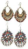 YouBella Fashion Jewellery Stylish Afghani Tribal Fancy Party Wear Earrings for Girls and Women (Combo-1)