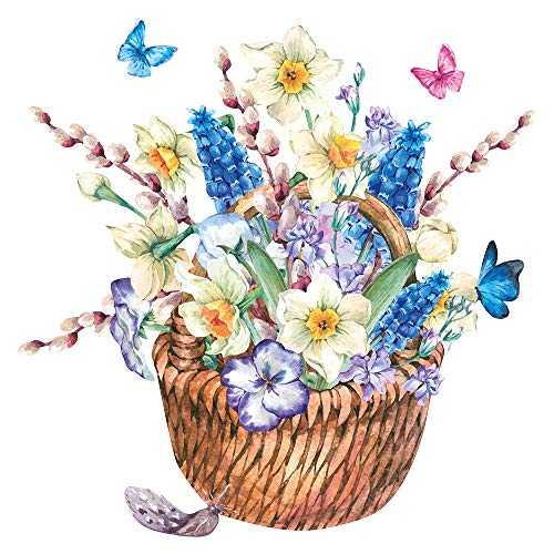 Aquarell Wandtattoo Korb mit Blumen und Blüten florale Wanddeko Sommerdeko - Mit Ein Korb Blumen