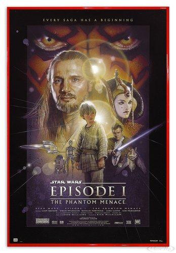 Close Up Star Wars Poster Episode 1 The Phantom Menace (94x63,5 cm) gerahmt in: Rahmen rot