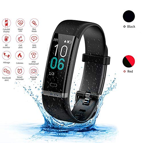 LQQZZZ wasserdichte Smart Watch, Sport Schwimmen Smart Watch Weiblichen Physiologischen Zyklus Pulsmesser Fitness IP68 Schrittzähler Männer Und Frauen,Black