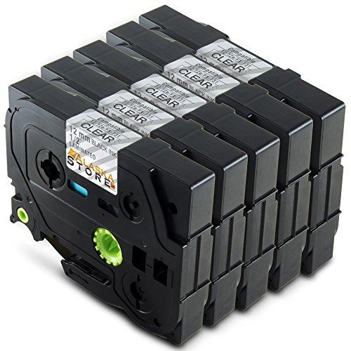Premium 5x Farbband Tape Schriftband für TZ131 TZE131 TZ-131 TZE-131 TZE 131 TZ 131 12mm Schwarz auf Transparent für P-Touch 1000 1010 1080 1090 1200 1200P 1230PC 1250 1280 1290 1750 1800 1850 200 220 2400 2450 2460 2470 2480 300 310 340 350 3600 540 550 900 9400 9600 Brother P-touch H100LB/R H105 E100/VP D200/BW/VP D210/VP P-Touch 1000W 5xTZ-131
