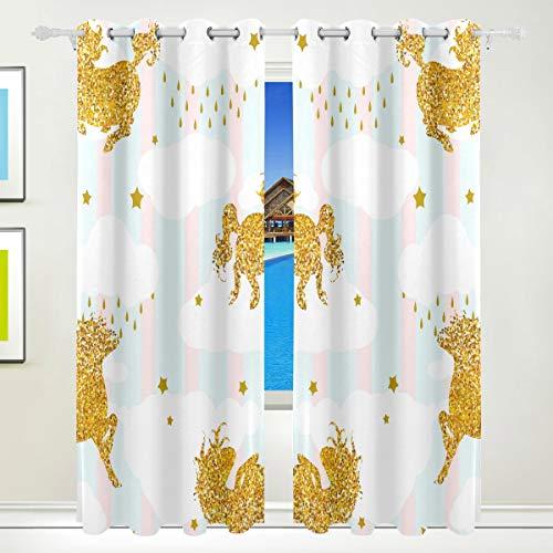 Ahomy Vorhang mit goldfarbenem Einhorn, Pferd, Stern, Thermo-Isolierung, Ösenvorhang, für Wohnzimmer, Esszimmer, Schlafzimmer, 213,3 x 139,7 cm, 2 Stück (Pferd-gewebe-panel)