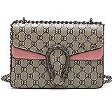 liyuan Kette kleine quadratische Tasche Mode gedruckt Umhängetasche Tigerkopf Messenger Bag Mini Kette Tasche exquisite Urlaub Geschenk (22x15x9cm, Pink)