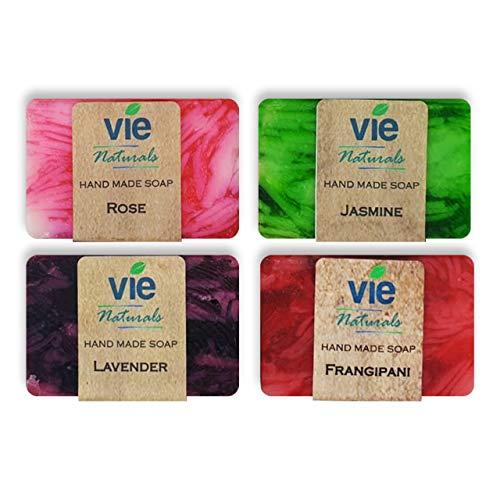 Natural Soap Bar (Vie Naturals Bali Soap - Natural Soap Bar Gift Set, Face Soap or Body Soap, 4 pc Variety Soap Pack (Lavender, Rose, Jasmine, Frangipani) (VN-BALI-SOAP-100GX4))