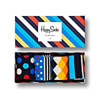 Happy Socks, Exclusive Colorful Premium Cotton Sock Gift Box for Men and Women (Pack of 4)