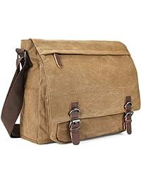 5eab158e61a0 Aizbo Men s Shoulder Messenger Bag Canvas Crossbody Work Day Bag Laptop Bag  for 15 Inches