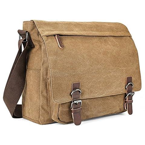 Aizbo Men's Shoulder Messenger Bag Canvas Crossbody Day Bag Laptop Bag for 15 Inches, Large Size (Deep