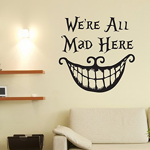 V&C DESIGNS LTD LARGE CHESHIRE CAT WE'RE ALL MAD HERE QUOTE VINYL WALL STICKER DECAL WALL ART...