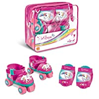 Mondo Mondo-28511 Toys Adjustable Unicorn Roller Skates Size 22 to 29 Set Complete with Transparent Bag, Elbow Pads and Knee Pads 28511, Pink