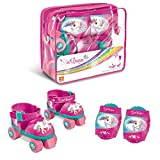 Mondo Mondo-28511 Toys-Pattini a rotelle Regolabili Unicorn per Bambini-Taglia dal 22 al 29-Set Completo di Borsa Trasparente, gomitiere e Ginocchiere, 28511, Colore Rosa