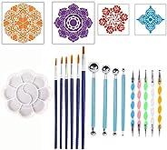 Decdeal 20 Pcs Dot Painting Tools Kit Mandala Dotting Tools Mandala Stencil Kit Multifunction DIY Painting