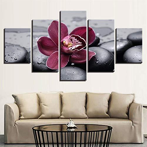 SUYUN Pintura Decorativa,Flores y Piedras Wulian bambú Hoja Verde impresión Home Room...
