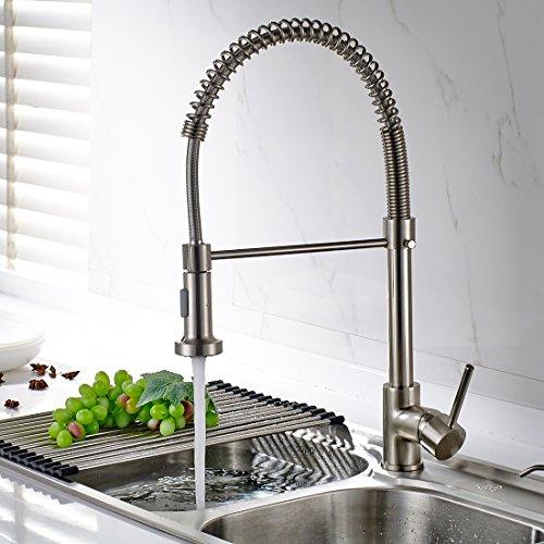 Preisvergleich Produktbild Timaco Wasserhahn Küche Einhandmischer für Küchen Spüle Gebürsteter Nickel Geschirrbrause Federbrause Mischbatterie Küchenarmatur Spültisch Armatur