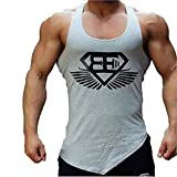 Kecko Men Cotton Herren Tank Top Fitness Stringer Gym Shirt T-Shirt Superman Wings Weste Print Sport Vest Muscleshirt (XXL, Grau)