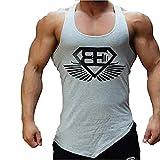 Kecko Men Cotton Herren Tank Top Fitness Stringer Gym Shirt T-Shirt Superman Wings Weste Print Sport Vest Muscleshirt (XXL, Grau)