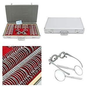 WGng 104/266-teiliges Optisches Linsen-Set für Augenmessung, Optometrie-Testobjektiv, Metallverkleidung, Aluminium-Gehäuse, 266 Teile, 2 Zylinder