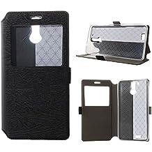 BeCool® - Funda carcasa tipo Libro con función soporte para Oukitel K6000, Protege y se adapta a la perfección a tu Smartphone con ventana S-View con la que podrás ver todas tus notificaciones. Negra