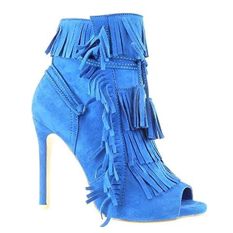 Angkorly - damen Schuhe Stiefeletten Pumpe - Stiletto - Offen - Franse - Bommel - Spitze Stiletto high heel 11 CM - Blau C-242 T