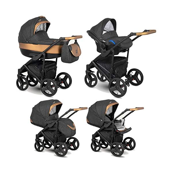 Lux4Kids Stroller Pram 2in1 3in1 Isofix Car seat 12 Colours Free Accessories Leo Anthracite Copper BA-9 4in1 car seat +Isofix Lux4Kids Lux4Kids Leo 3in1 or 2in1 pushchair. You have the choice whether you need a car seat (baby seat certified according to ECE R 44/04 or not). Of course the car is robust, safe and durable Certificate EN 1888:2004, you can also choose our Zoe with Isofix. The baby bath has not only ventilation windows for the summer but also a weather footmuff and a lockable rocker function. The push handle adapts to your size and not vice versa, the entire frame is made of a special aluminium alloy with a patented folding mechanism. 1
