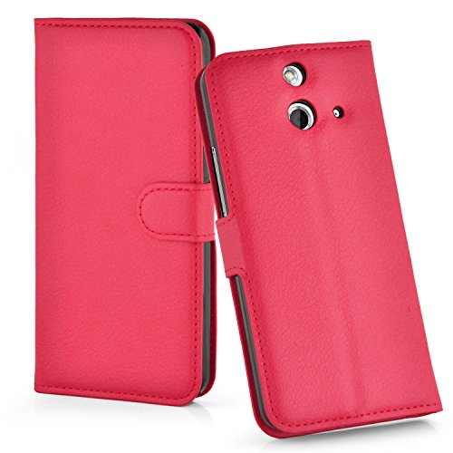 Cadorabo Hülle für HTC One E8 Hülle in Karmin Rot Handyhülle mit Kartenfach und Standfunktion Case Cover Schutzhülle Etui Tasche Book Klapp Style Karmin-Rot