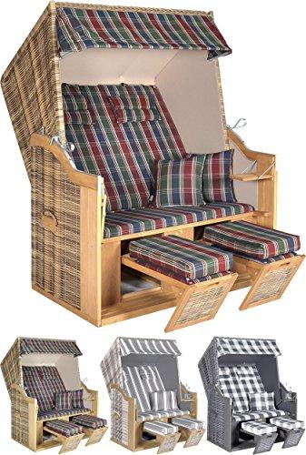 Hochwertiger Strandkorb \'Nizza\' XL 2-Sitzer für Ihren Garten, Halblieger, Fußstützen, Fuß- und Nackenkissen