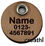 Anhänger rund (Kreis) fürs Halsband personalisiert ECHTES LEDER! Hundemarke ohne geklimper! f. Hundehalsband Katzenhalsband Kette DogTag (Normal) - 2