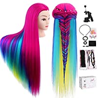 Training Head, TopDirect 80cm/31.5inch Hair Cosmetology Hairdressing Mannequin Manikin Doll 100% Synthetic Fiber Rainbow Hair + Braid Sets + Free Clamp