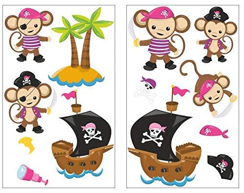 es Piraten Affen Pink Wandtattoo Set Kinderzimmer Babyzimmer Insel Schatz in 5 Größen (2x16x26cm Mehrfarbig) ()