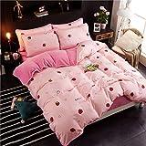 AZSUR Vier Stück Baumwolle bedeckt Bettdecke, Reine Baumwolle Korallen Haufen Bettwäsche, Herbst und Winter Warmes Bett Gesetzt, 1,5 * 2,0 m, Erdbeere