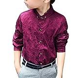 LaoZanA Jungen Kinder Party Hemd Freizeit Hemd Lange Ärmel Hemd Shirts Weinrot