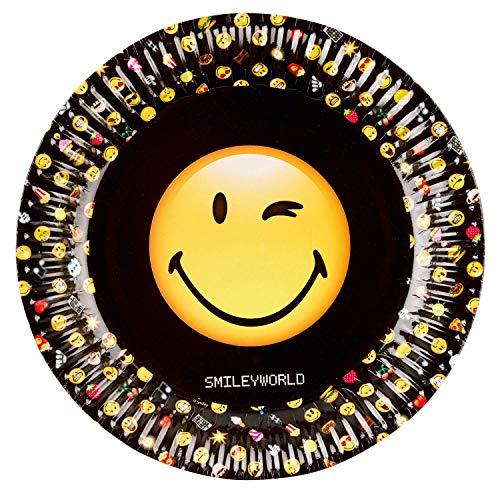 ller Einweg-Geschirr Papp-Plates Emoji Smilie Tisch-Dekoration/Motto-Party Kinder-Geburtstag-s-Deko Jungen & Mädchen 8 Teller ()