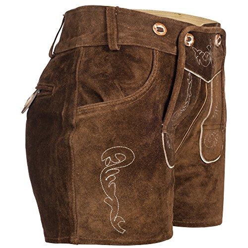 Gaudi-Leathers Damen Trachten Lederhose Shorts kurz mit Träger in Braun (Hellbraun 040), W33 (Herstellergröße: 36) -