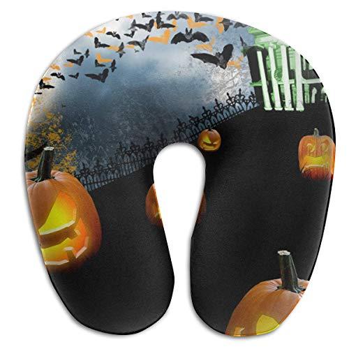 Voxpkrs Memory Foam Neck Pillow Halloween Pumpkin Bat House U-Shape Travel Pillow Ergonomic Contoured Design Washable ()