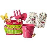 Tierra Garden 7-lp380Little Pals Kids Junior Kit de jardín con paleta, rastrillo de mano, guantes, planta marcadores, y cubo, Rosa, rosa
