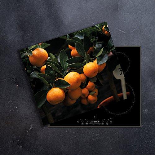 DAMU | Ceranfeldabdeckung 1 Teilig 60x52 cm Herdabdeckplatten Küche orange Obst Elektroherd Induktion Herdschutz Spritzschutz Glasplatte Schneidebrett