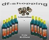 10 Liter Hochleistungs Bio Ethanol & 3 leere Brennstoffdosen Dosen 0,25 L.