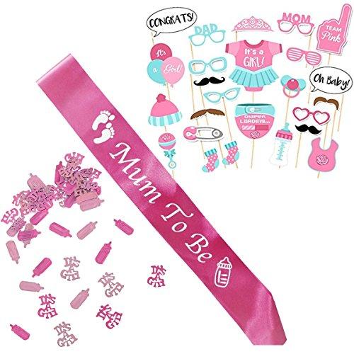 Baby Shower Mädchen / Babyparty Deko / Baby Party Dekoration, Neugeborene Rosa Fotorequisiten Masken, Mum To Be Fuchsie Scharpe und Konfetti. (Baby-dusche-spiel Candy)
