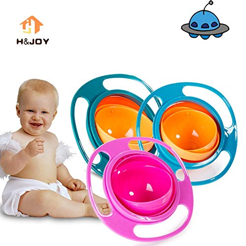 Messing-balance (Uniqus Child Universal Gyro Bowl Children Rotary Balance Bowl Cute Baby Feeding Dish 360 Rotate Spill-Proof Bowl Kids Anti Messing Bowl)