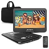 PUMPKIN DVD Player portatile per bambini 14 pollici Grande HD Schermo, Lettore dvd portatile auto 1366*768 Alta risoluzione, Lettore USB / SD Card, lungo gioco tempo, AV IN / OUT,include Supporto Poggiatesta per Auto