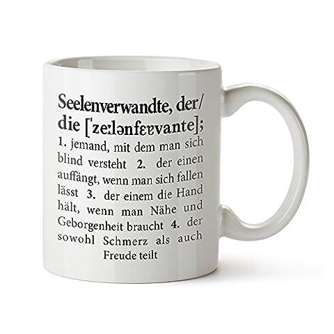 Tasse mit Aufdruck – Definition Seelenverwandte – Standard- Originelle Kaffeetasse - Kaffeebecher in weiß als Geburtstagsgeschenk für Männer und (Ein Ganz Besonderes Geburtstagsgeschenk)