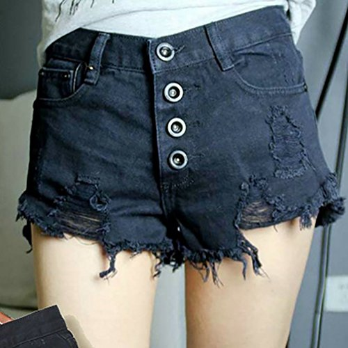 Baymate Femme Shorts Mini Cow-Boy en Denim Déchiré Trou Shorts Noir