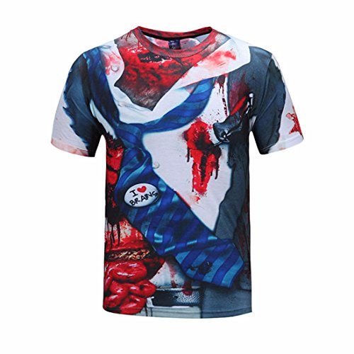 Men's 3D Halloween Dead And Skulls Printed Hip Hop Tee Shirt g1392