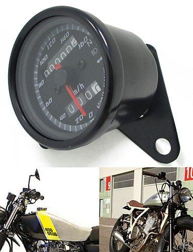 K-NVFA schwarz 12v Motorrad Roller Tacho Kilometerzähler Manometer 0-160km / h Motorrad Hintergrundbeleuchtung Dual-Geschwindigkeitsmesser mit #-2586