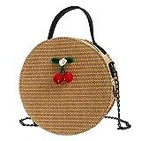 Felicove Vintage Damen Schultertasche, Crossbody Taschen Einfache Weave Runde Tote Handtaschen Schultertasche