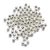 Hemore - Cuentas espaciadoras de metal de 4 mm bañadas en plata, 200 unidades, pequeñas cuentas lisas para collares, pulseras y bisutería, plateadas, herramientas de mano de jardín