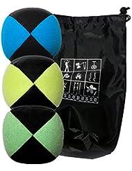 Conjunto de 3 bolas de malabares malabares Flash Pro azul / amarillo / verde bicolor (4 lados) en la bolsa de terciopelo completa