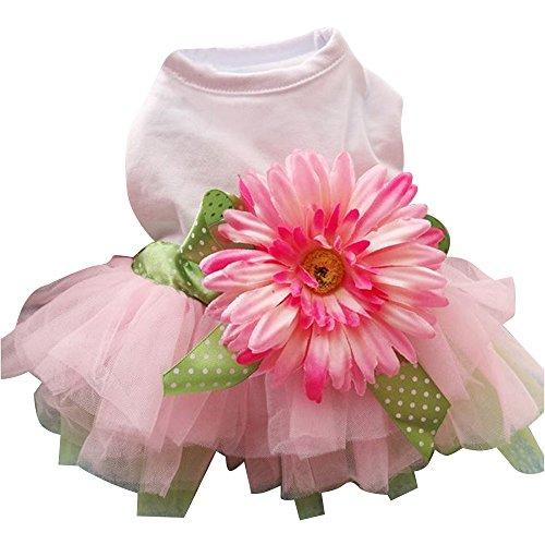 URIJK Hund Kleid Sonnen Blumen Design Prizessin Kleidung Bekleidung Welpen Katze Dekoration Pet Sundress für Hochzeit Party (Blumen-sonne-kleid)