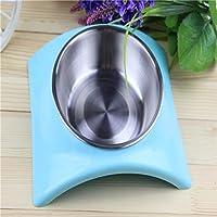 in acciaio inox alimento per animali domestici ciotola durevole duplice uso antiscivolo gatto e cane cibo ciotola 2pcs , single bowl blue