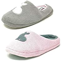 Four Seasons Ladies Womens Teens Pink Grey Rabbit Outline Slippers Girls Mules Size 3-8