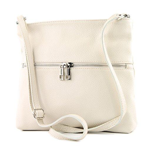 Creme Leder Handtasche (modamoda de - T144 - ital Umhänge-/Schultertasche aus Leder, Farbe:Creme)